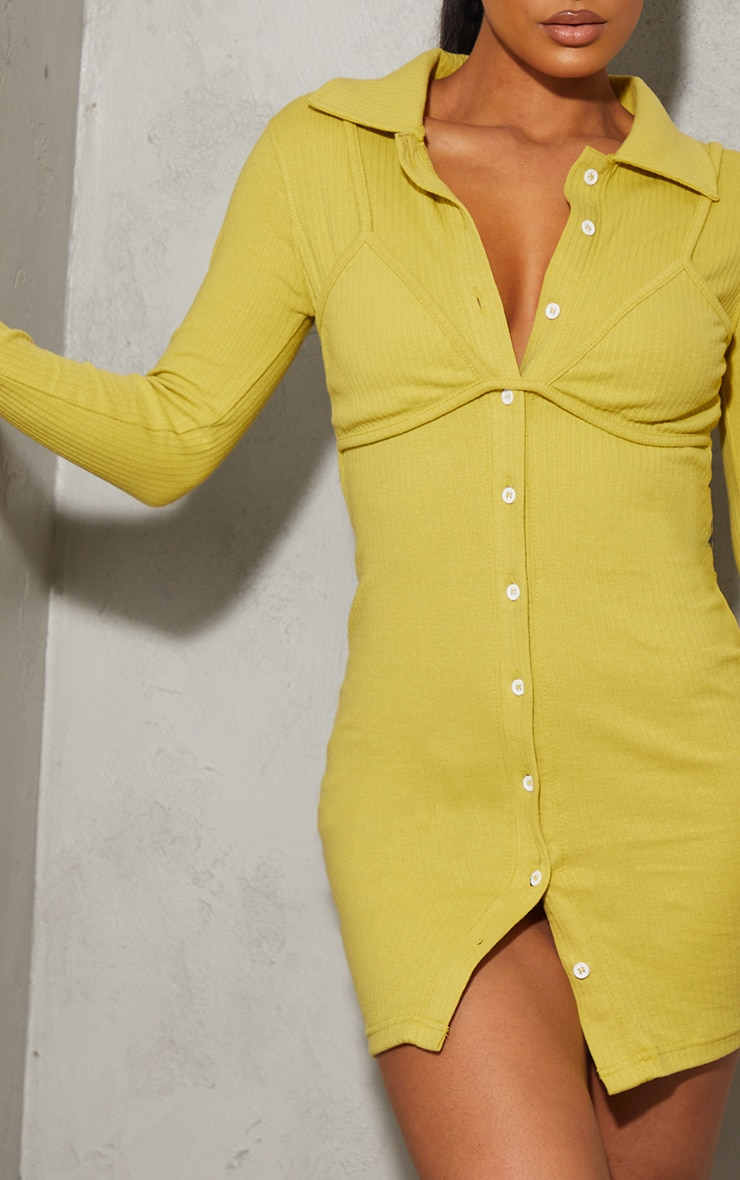 Chartreuse Bralet Overlay Button Down Rib Bodycon Dress 4