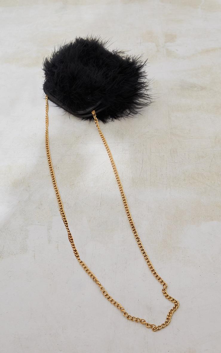 Black Marabou Feather Clutch Bag 3