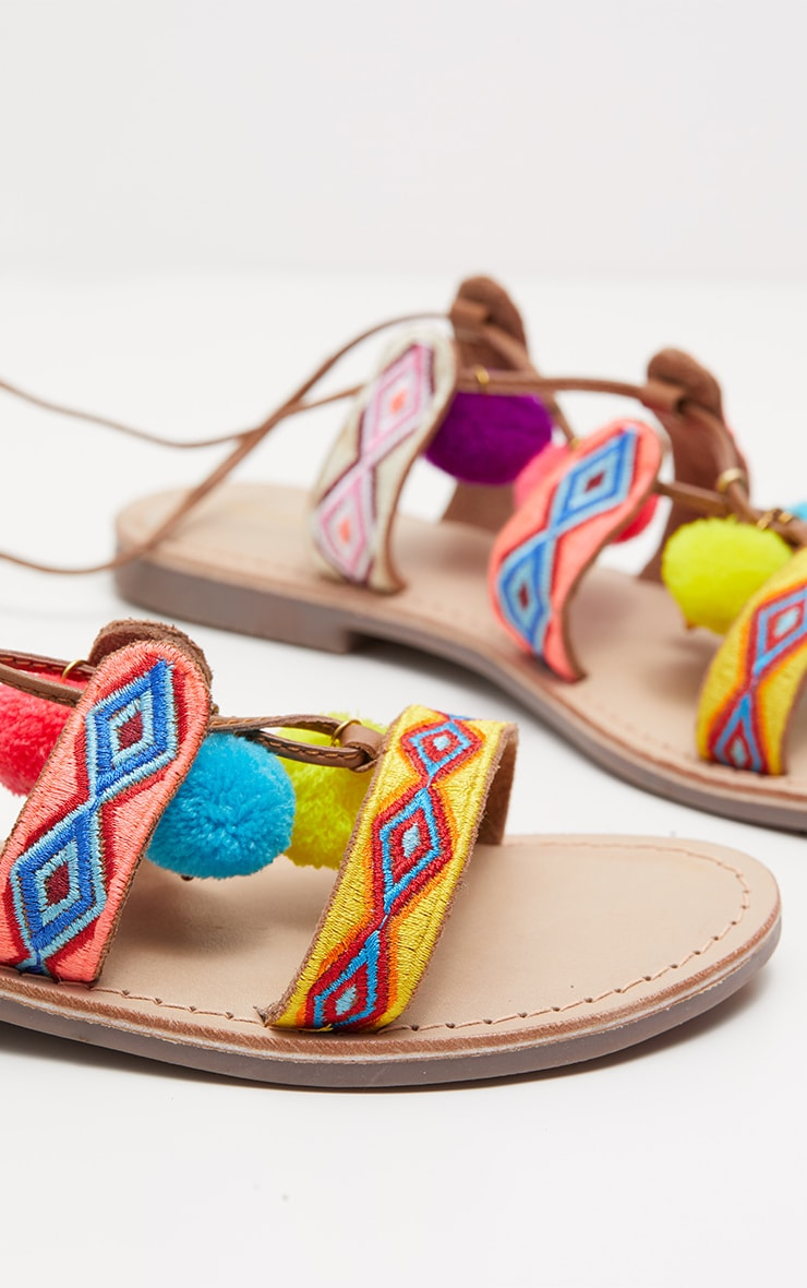 Tan Embroidered Ghillie Sandals 4
