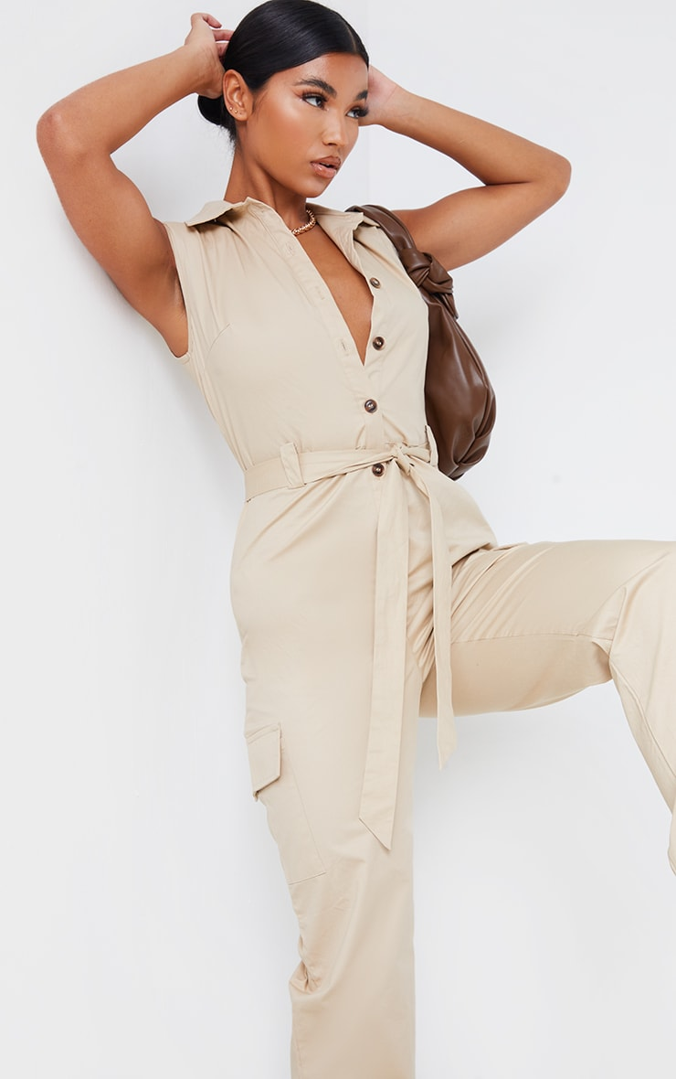 Stone Sleeveless Shoulder Pad Button Front Cargo Jumpsuit 4