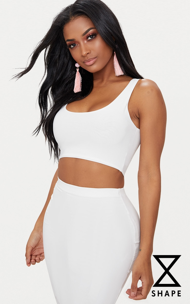 Shape White Slinky Square Neck Crop Top by Prettylittlething