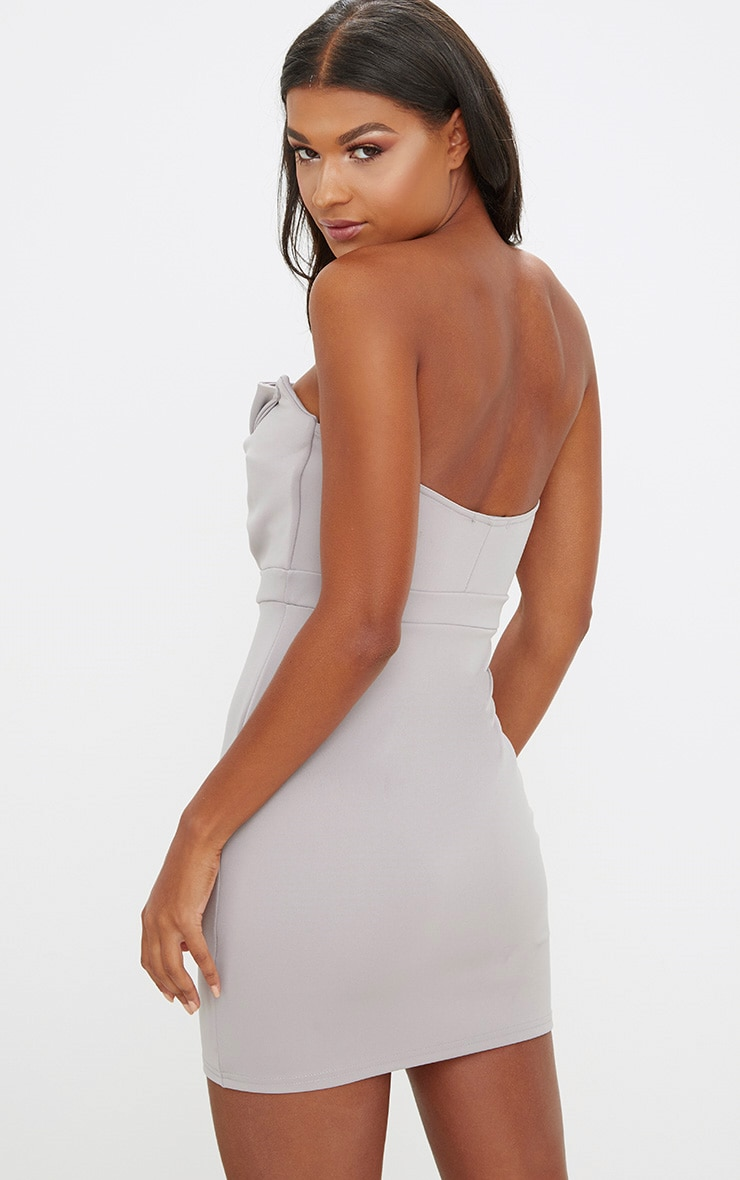 Ice Grey Scuba Bow Detail Bodycon Dress 2