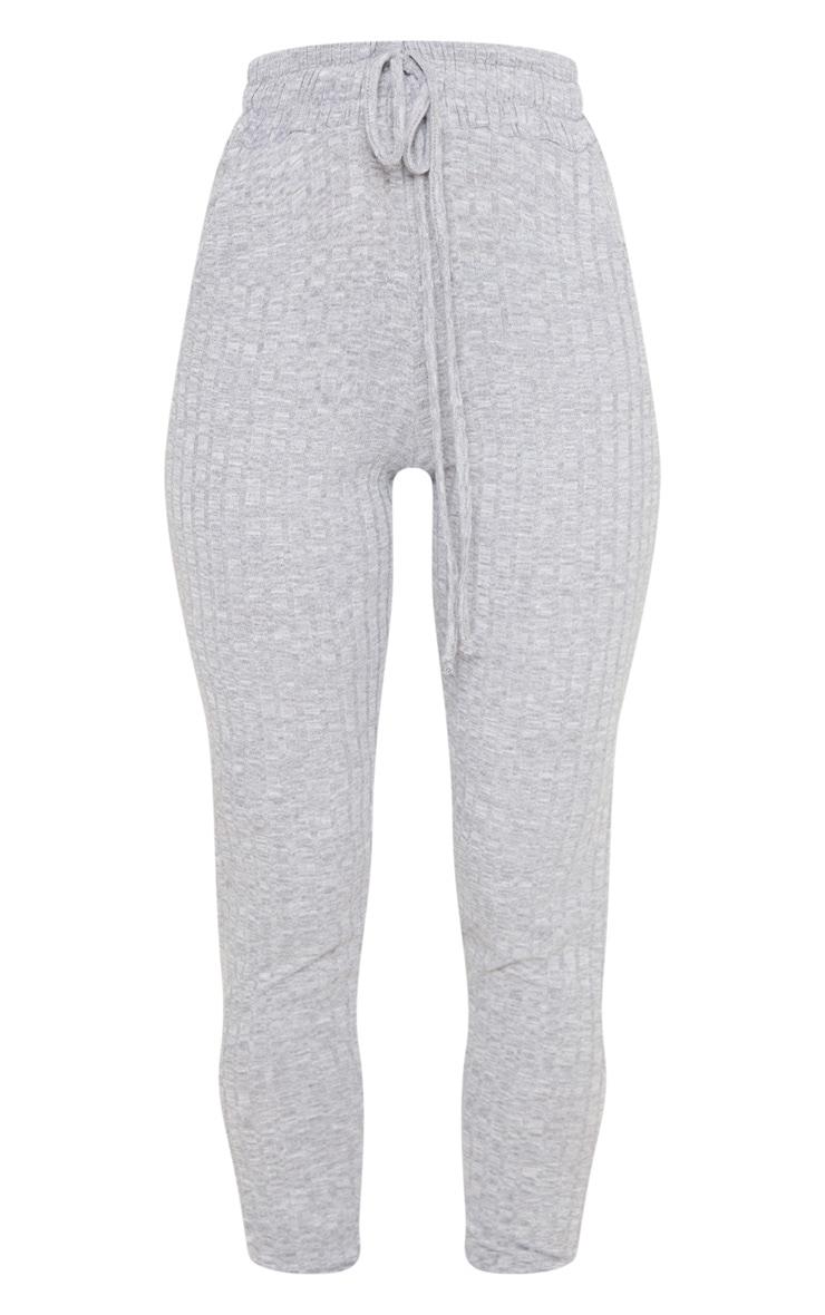 Light Grey Rib Knit Joggers 3