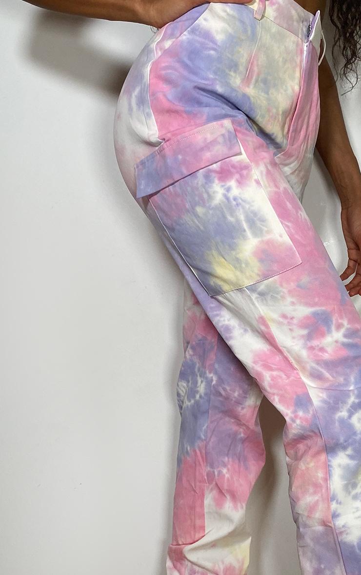 Multi Pastel Tie Dye Cargo Trousers 4