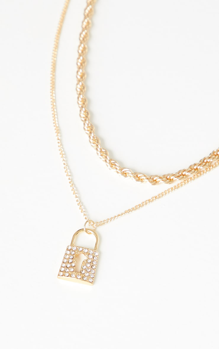 Gold Double Layer Padlock Necklace 3