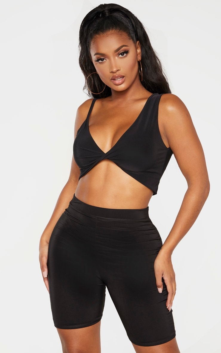 Shape Black Slinky Twist Front Strappy Crop Top  4