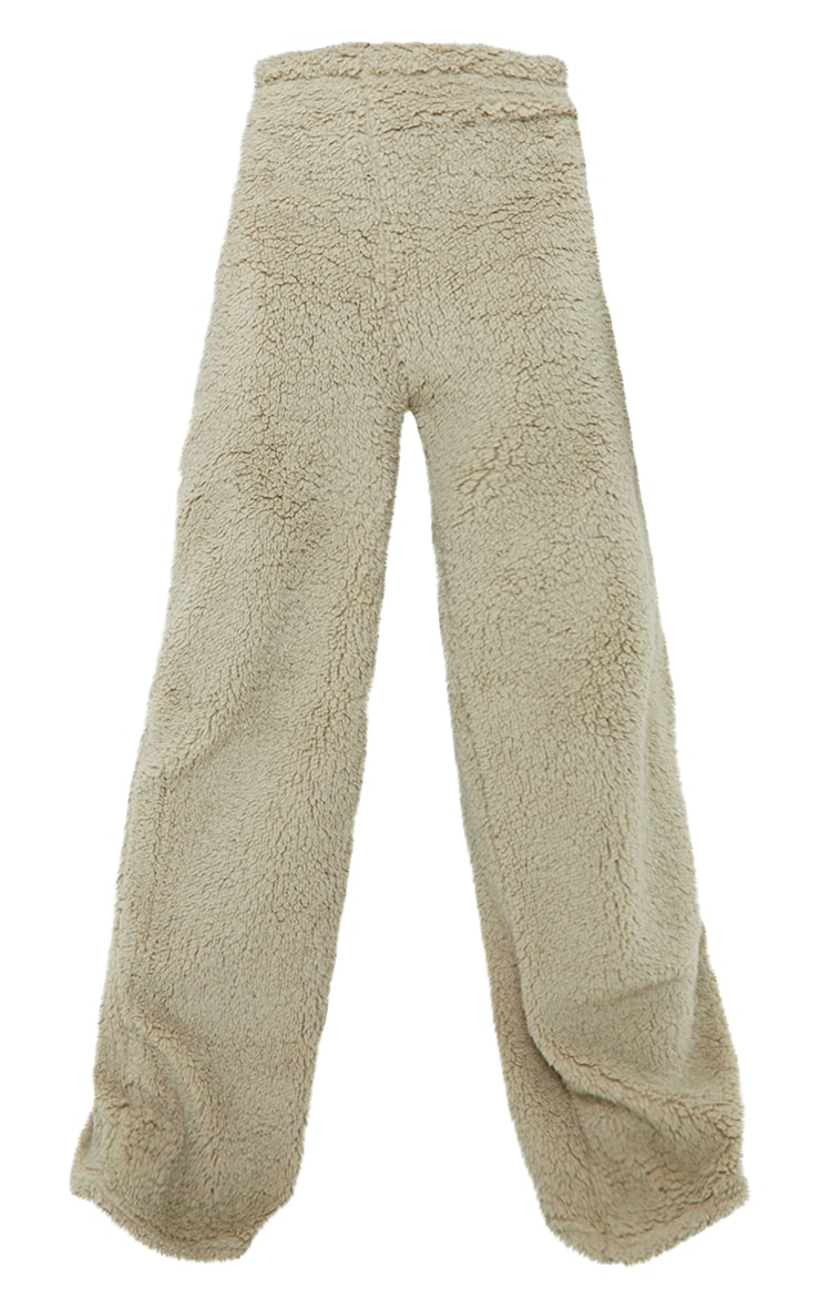Tall Sage Green Soft Borg Wide Leg Joggers 5