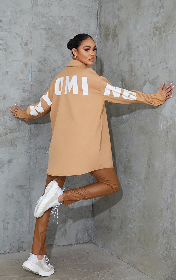 Sand Wyoming Slogan Oversized Shirt 3