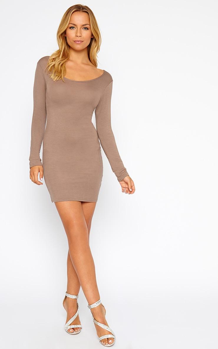 Basic Mocha Long Sleeve Jersey Mini Dress 3