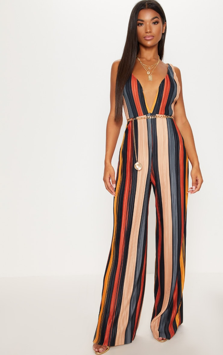 5c97507a9c3 Multi Striped Plisse Jumpsuit image 1