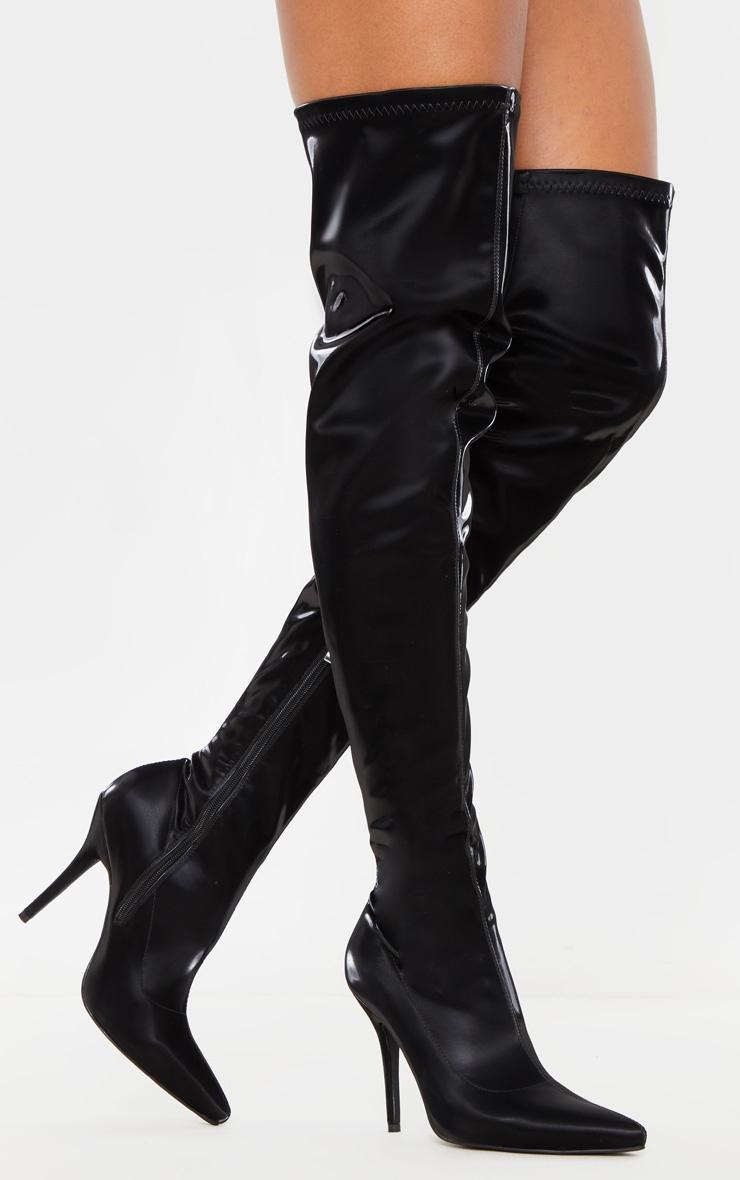 Black Satin Shine Thigh High Boot 2