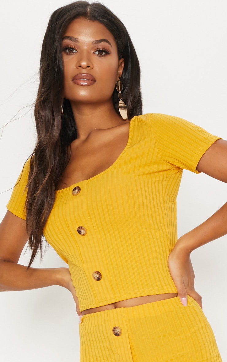 Pale Mustard Rib Button Short Sleeve Top