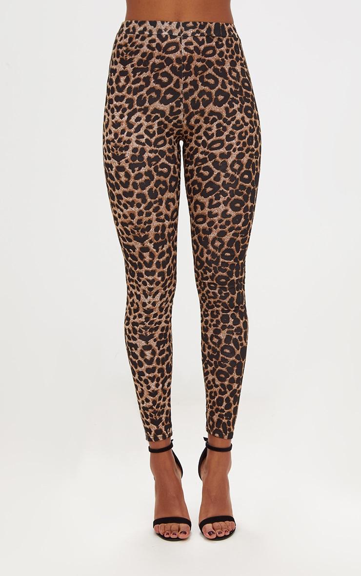 Legging imprimé léopard marron 2
