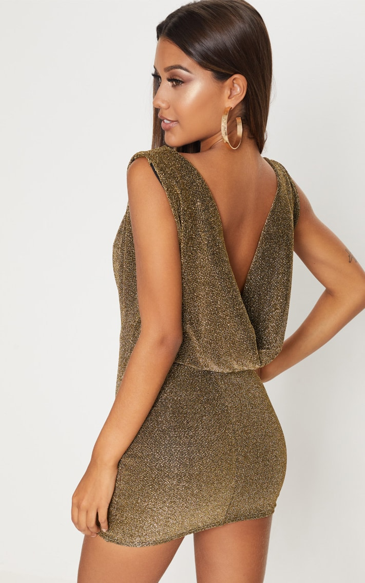 Gold Lurex Cowl Front & Back Bodycon Dress 1