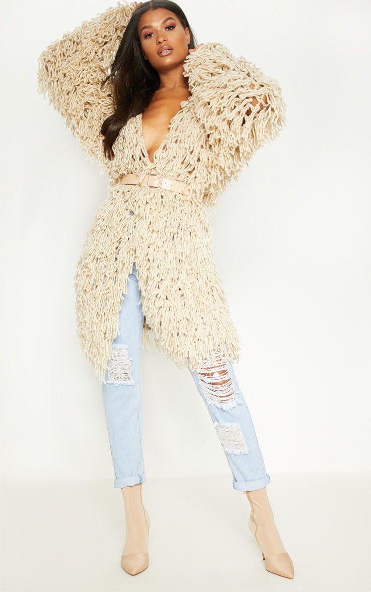 cdc158aa229 Stone Shaggy Knit Long line Cardigan image 1