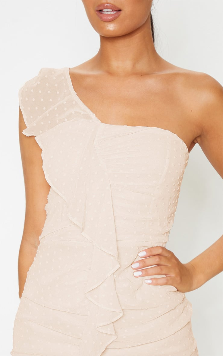 Nude Dobby Mesh One Shoulder Frill Bodycon Dress  5