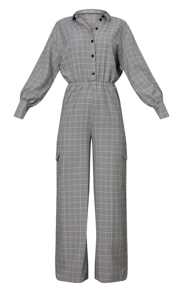Beige Check Pocket Wide Leg Shirt Jumpsuit 5