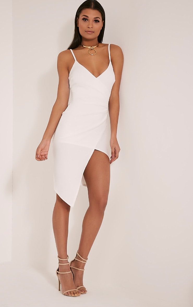 Lauriell White Wrap Front Crepe Midi Dress 5