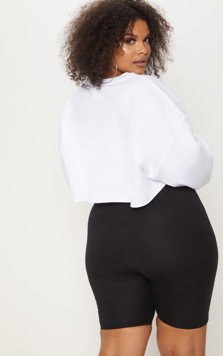 Plus White Your Loss Babe Cropped Sweater 2