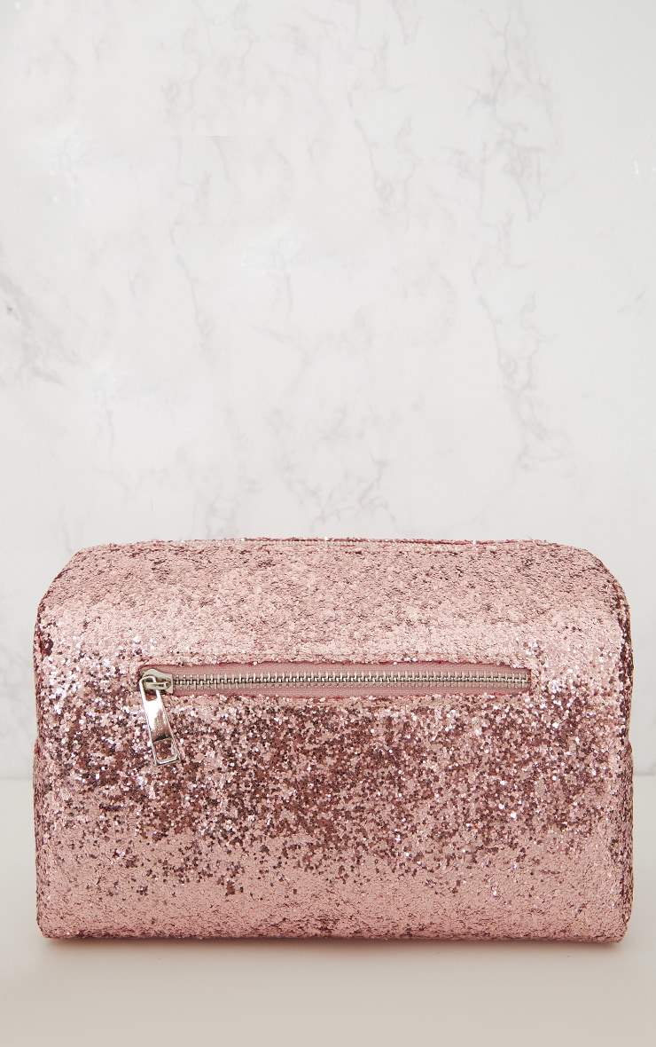 PRETTYLITTLETHING Rose Gold Glitter Make Up Bag 2