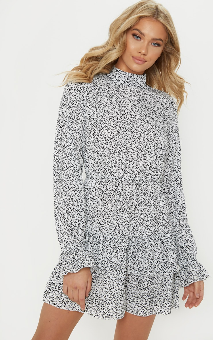 White Ditsy Leaf Print High Neck Tiered Shift Dress 1