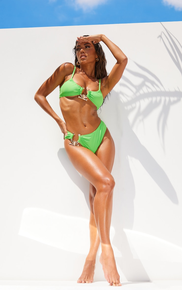 Green Hammered Trim High Rise Bikini Bottoms 3