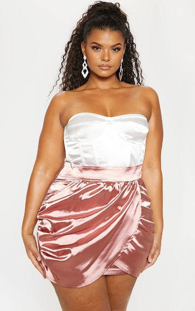 13787f1b6e1 Plus Dusty Pink Satin Gathered Mini Skirt PrettyLittleThing Sticker