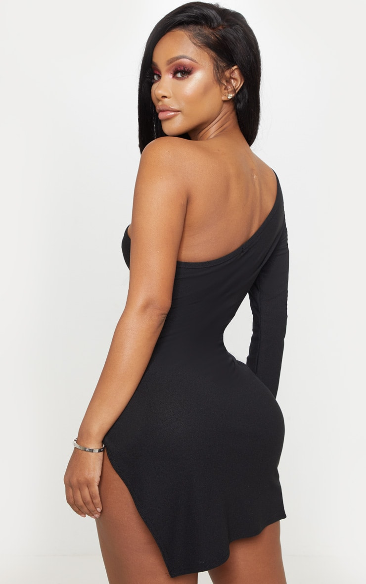 Shape Black One Shoulder Split Bodycon Dress 2