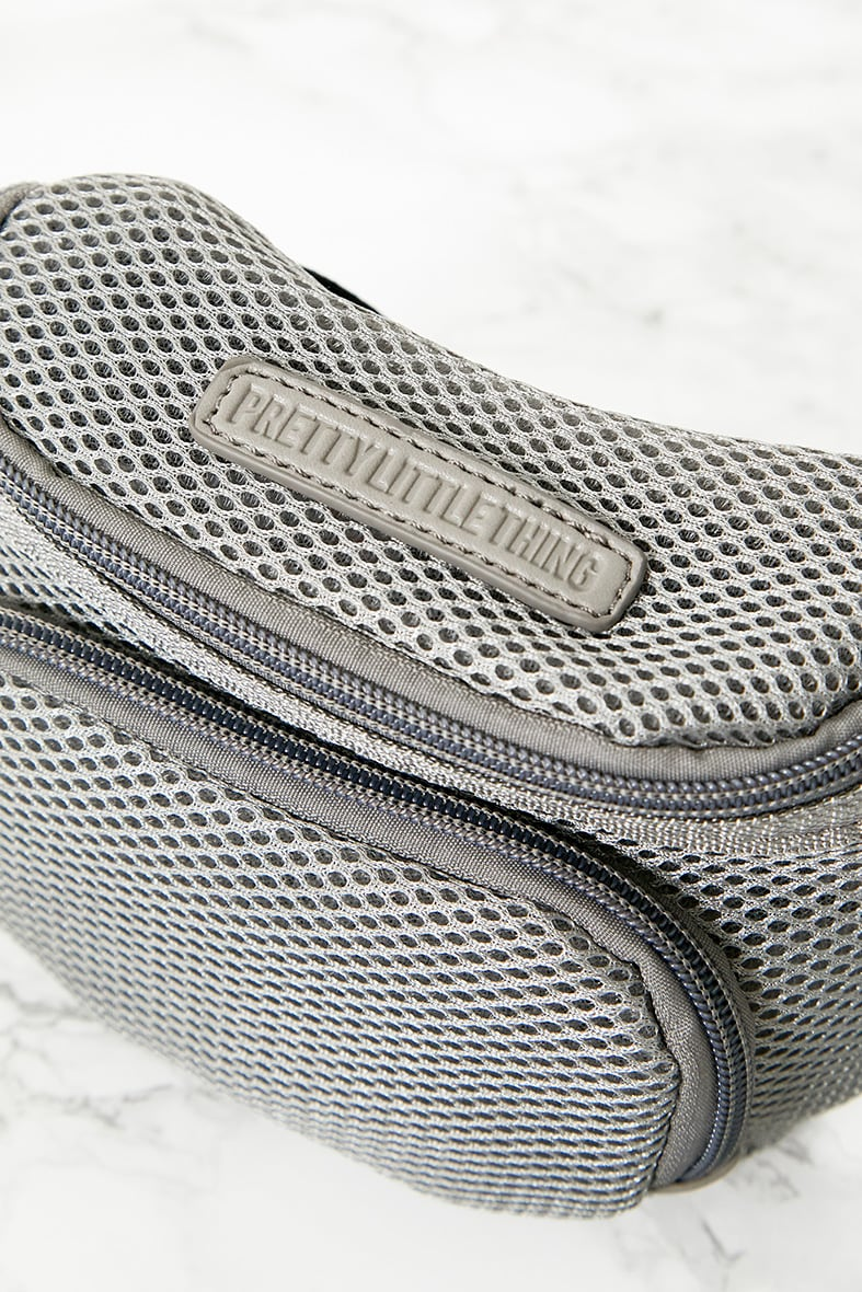 PRETTYLITTLETHING Grey Mesh Bum Bag 7