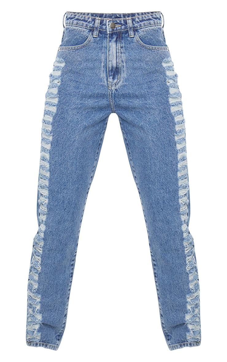 Dark Blue Wash Distressed Side Mom Jeans 5