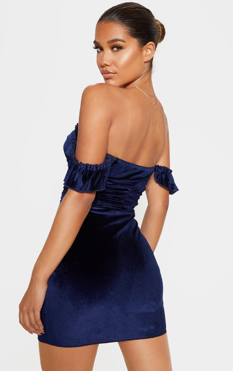 Navy Sleeveless Ruched Detail Bodycon Dress 2