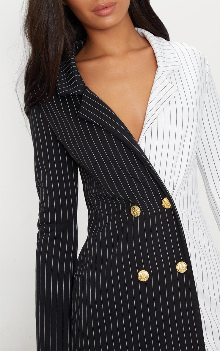Black Stripe Contrast Detail Blazer Dress 5