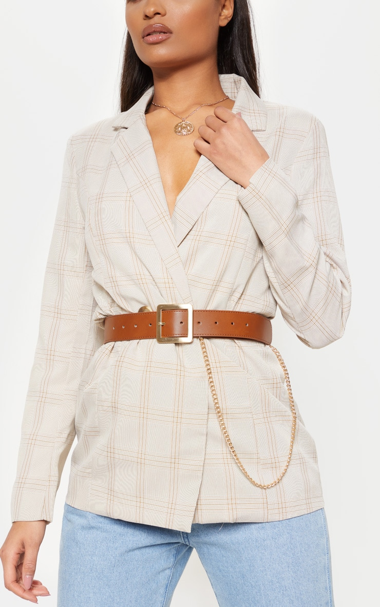 Tan Belt With Gold Chain 1