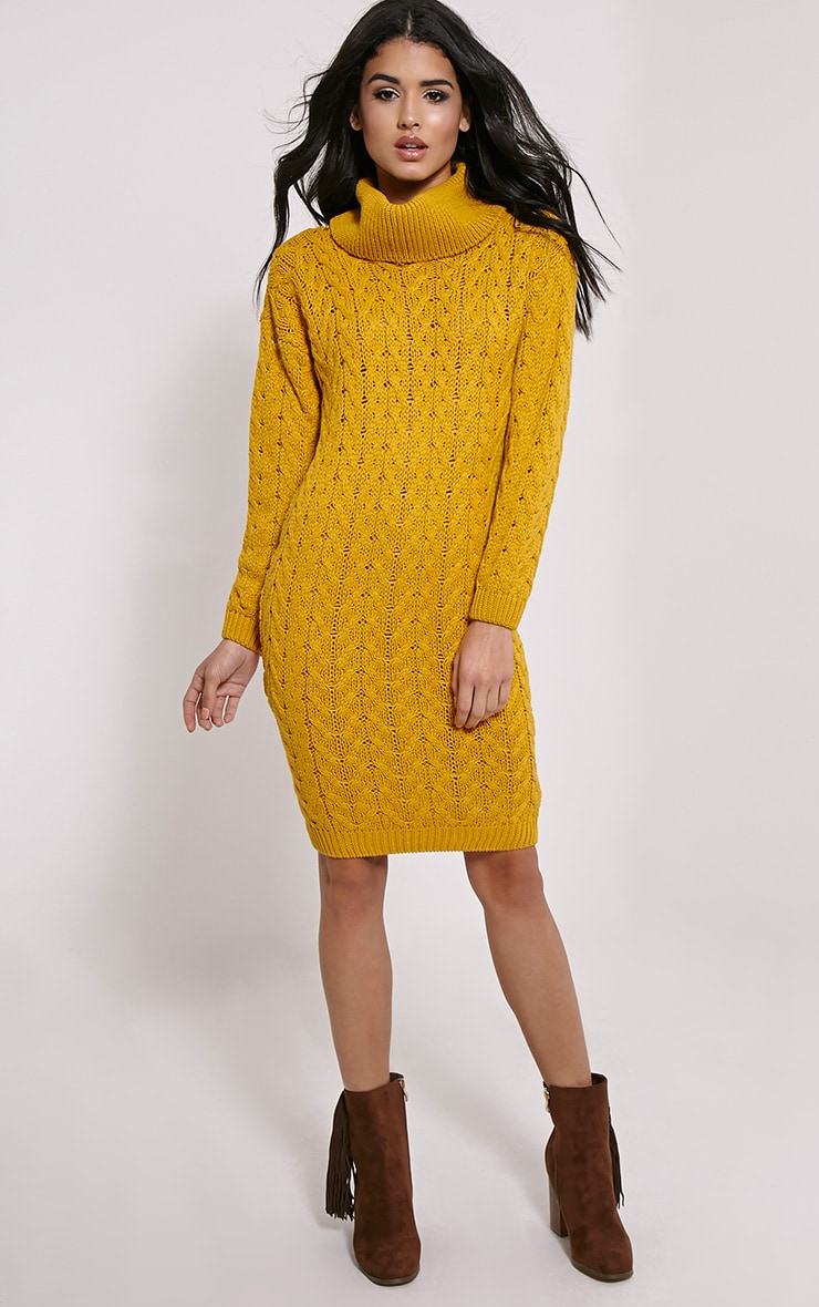 Stormie Mustard Cable Knit Long Length Jumper Dress 3