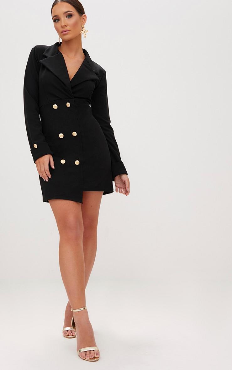 Black Gold Button Detail Blazer Dress 4