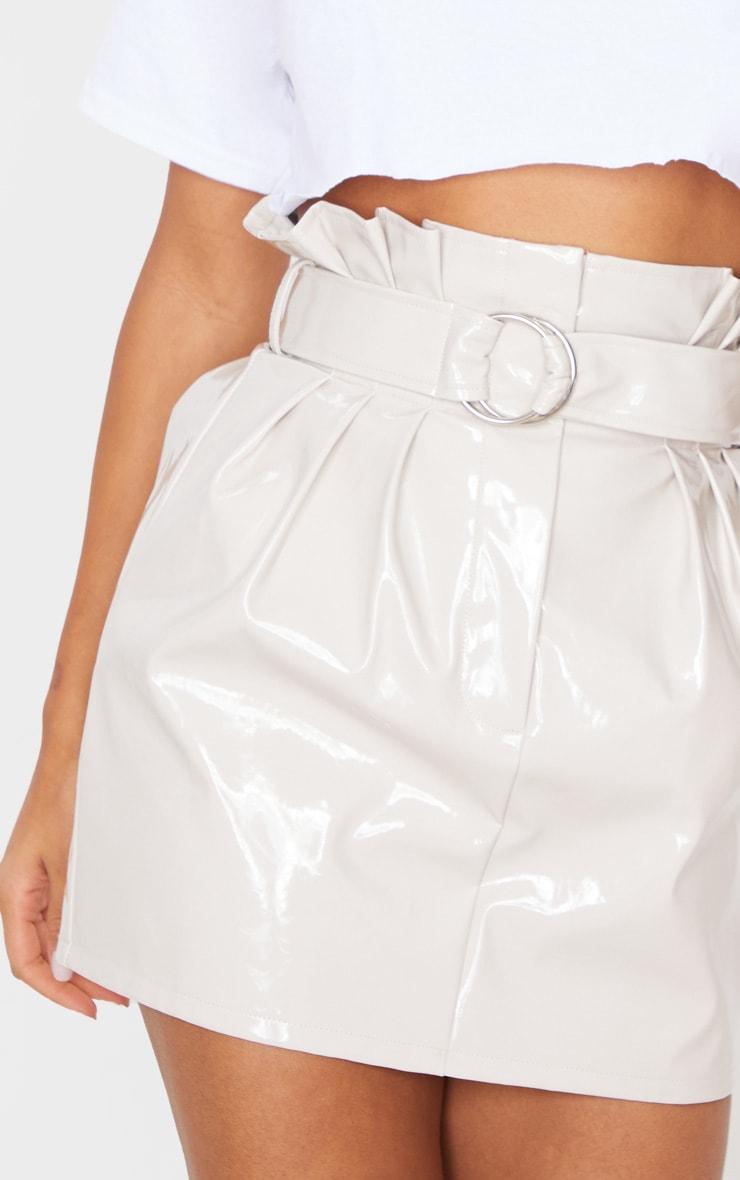 Stone Vinyl Belted Paperbag Mini Skirt  6
