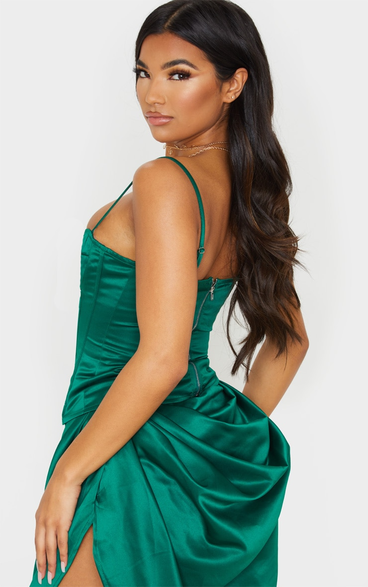 Emerald Green Satin Woven Cup Detail Strappy Corset 2
