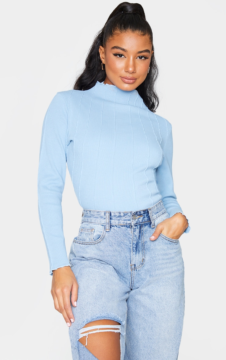 Dusty Blue Rib High Neck Exposed Seam Long Sleeve Top 1