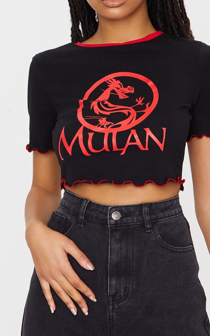 Black Disney Mulan Printed Lettuce Hem Crop Top 4