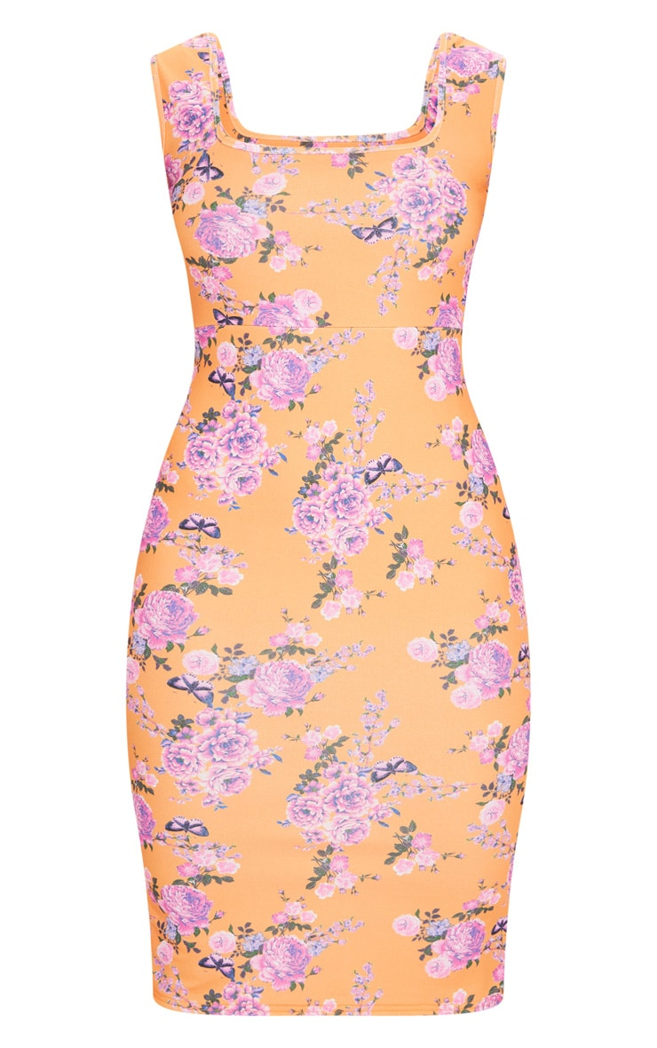 Coral Floral Square Neck Midi Dress 5