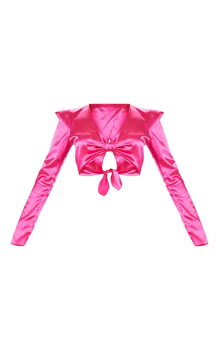 Hot Pink Satin Extreme Shoulder Twist Front Top 3