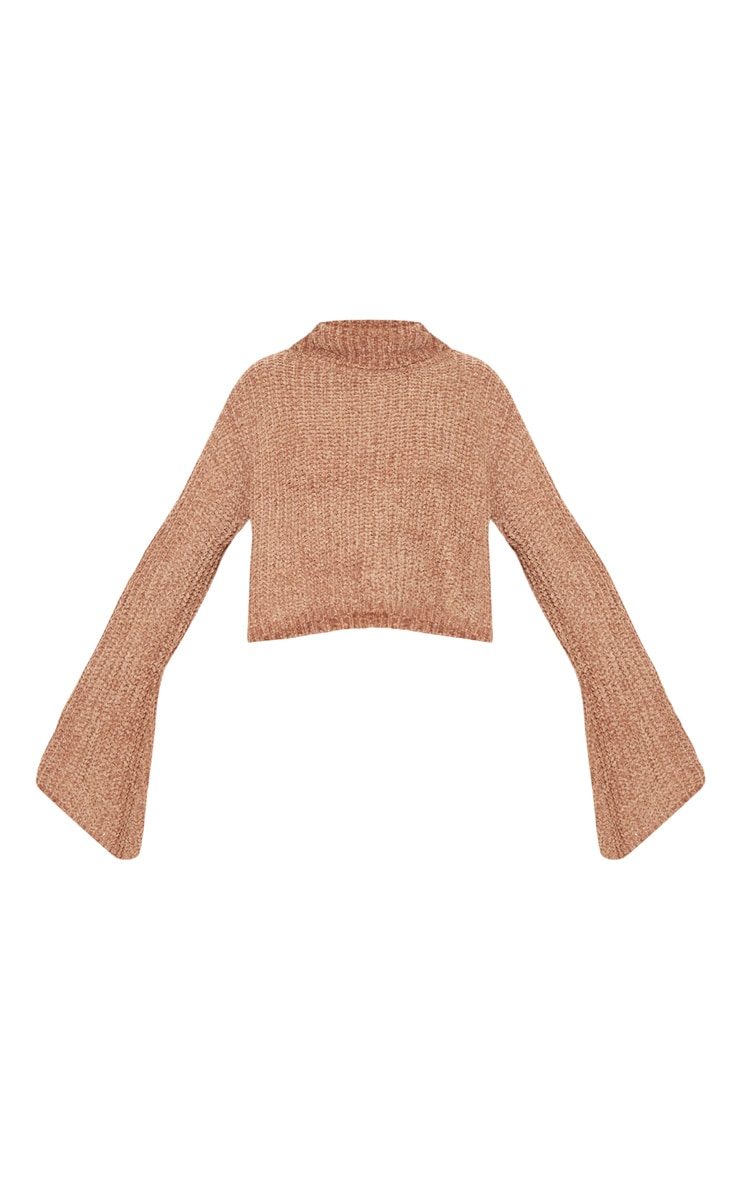 Camel Chenille Cropped High Neck Knitted Sweater  3