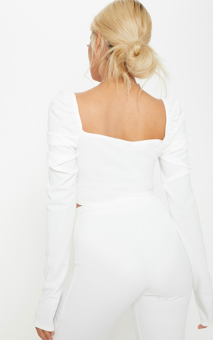 Petite White Puff Sleeve Crop Top 3