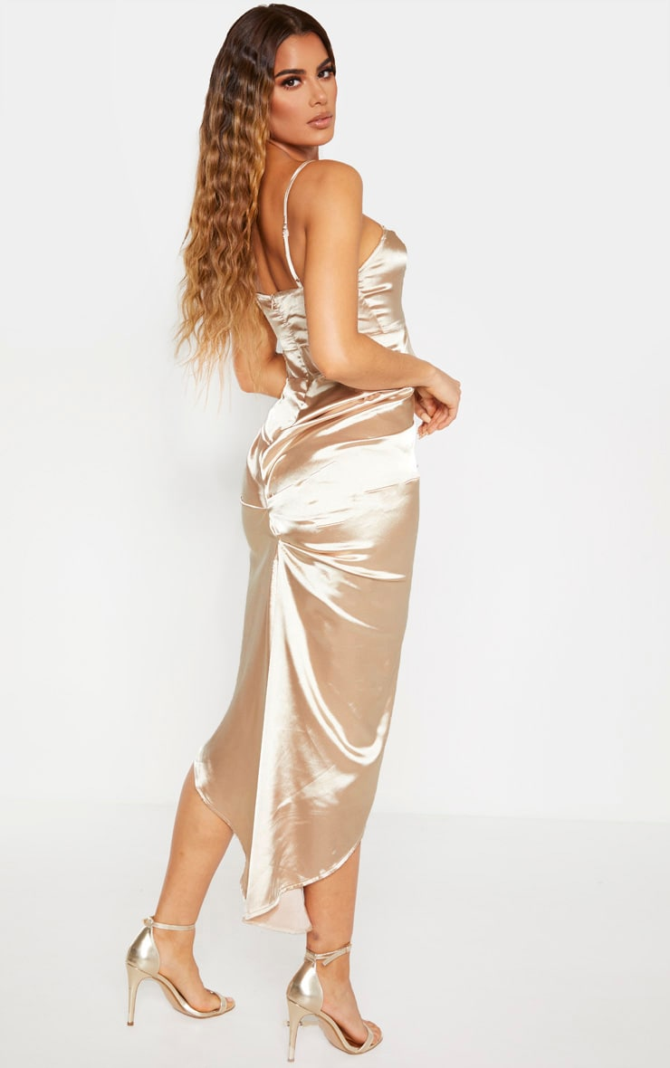 Tall Champagne Ruched Side High Split Satin Midi Dress  2