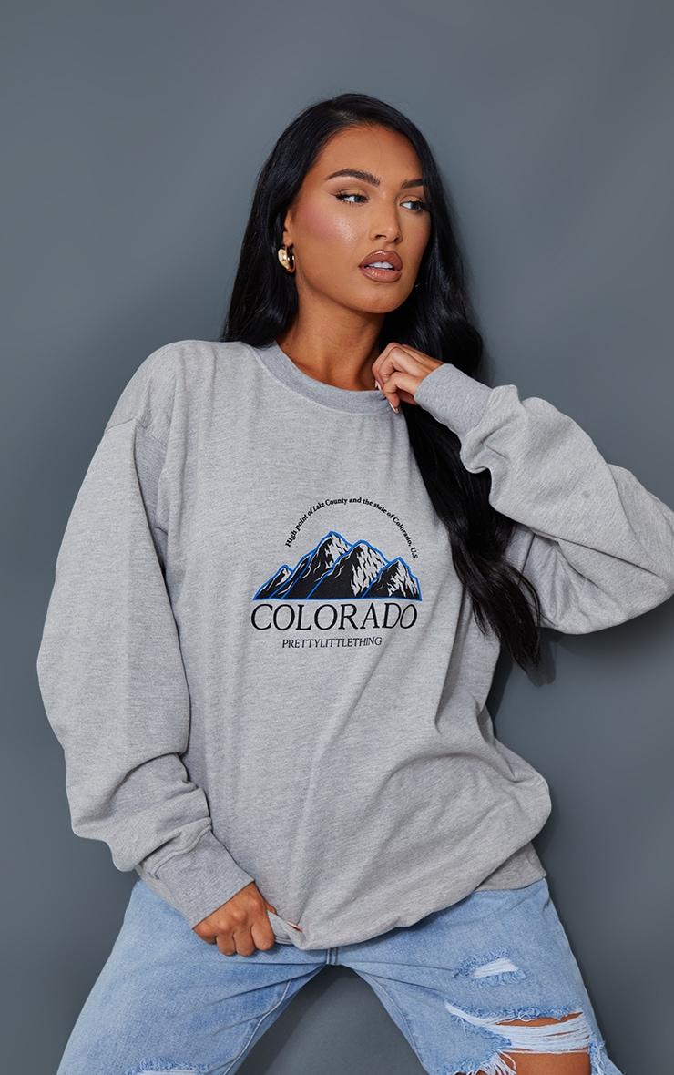 Sweat oversize gris cendré à imprimé Colorado 1