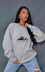 Ash Grey Colorado Print Oversized Sweatshirt 1