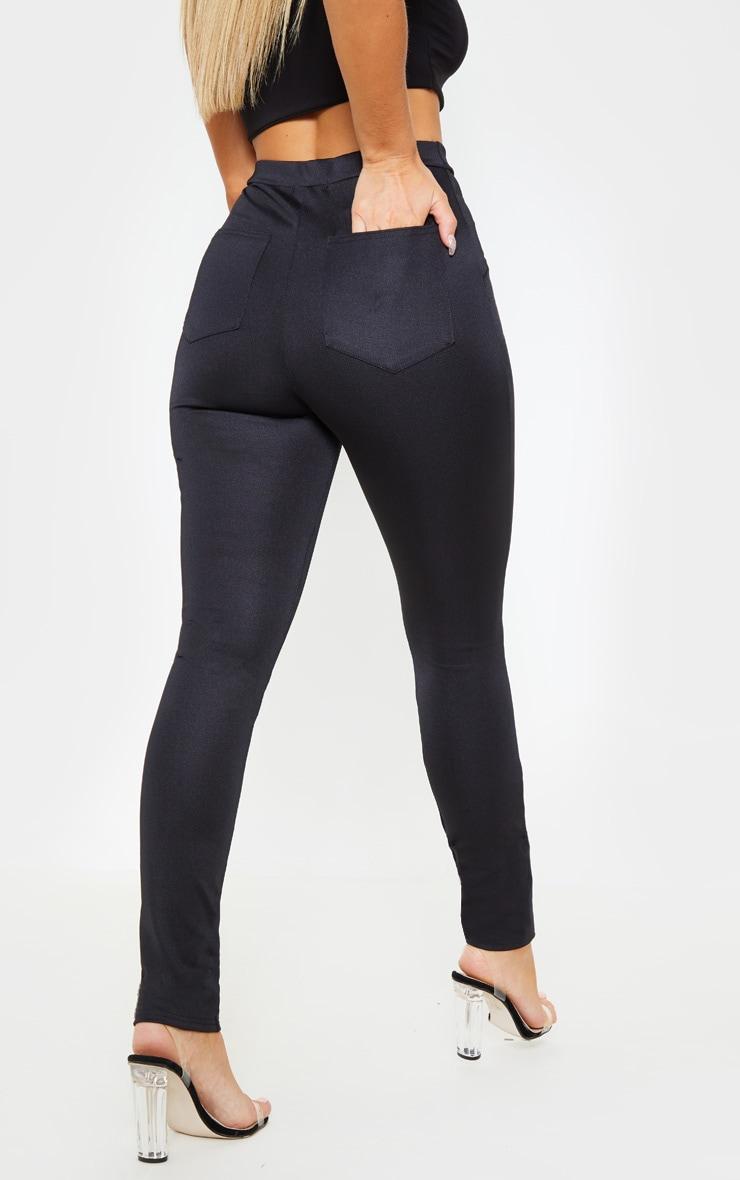 Black Super Stretch Back Pocket Detail Skinny Pants 4