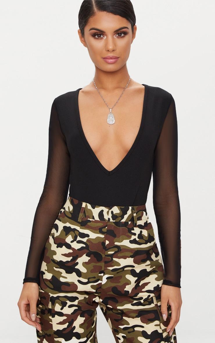 Black Mesh Sleeve Plunge Thong Bodysuit 2