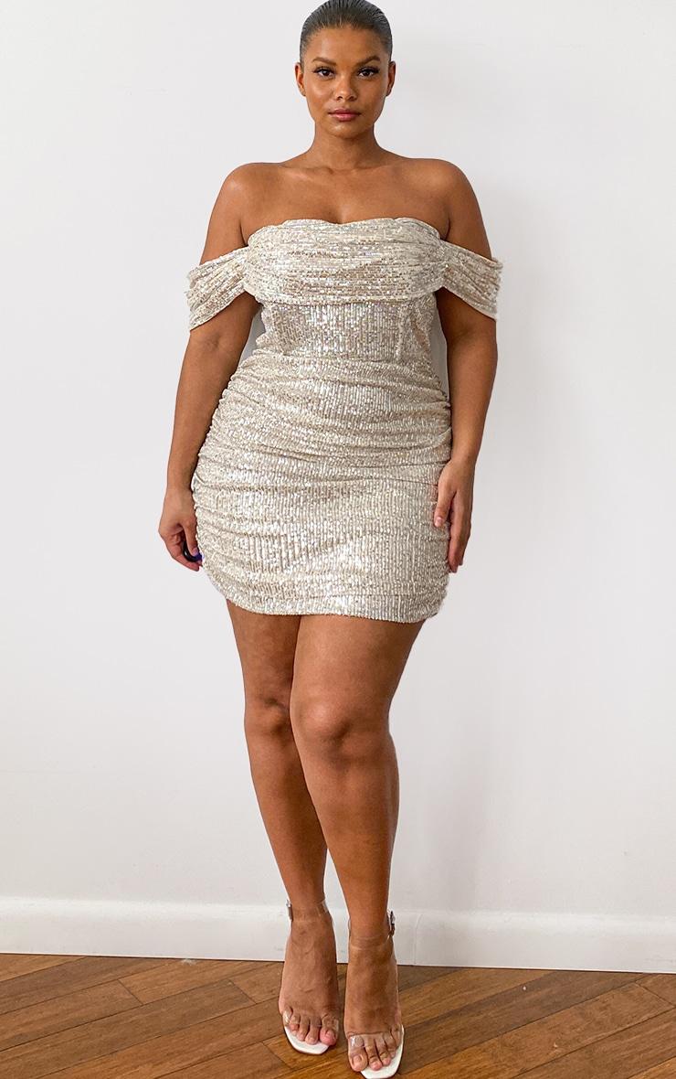 Plus Cream Sequin Bardot Bodycon Dress 3
