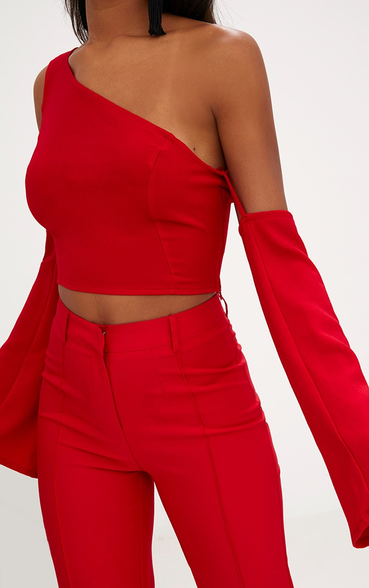 Red One Shoulder Flare Sleeve Crop Top 5